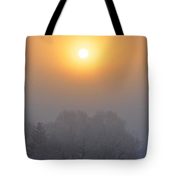 Foggy Morning In Montana's Gallatin Valley Tote Bag