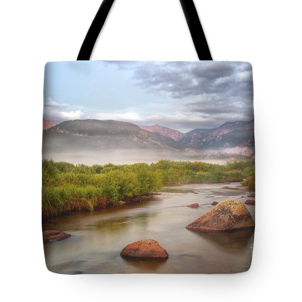 Foggy Morning In Moraine Park Tote Bag by Ronda Kimbrow