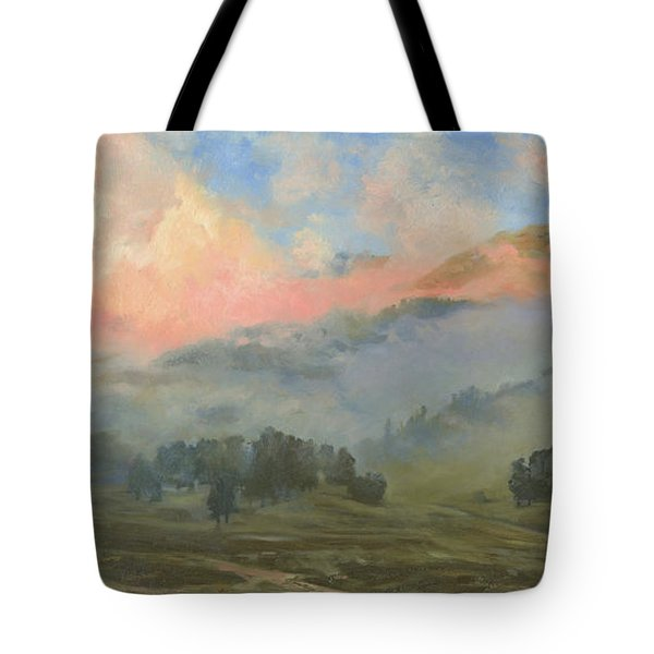 Foggy Morning In Mountains Tote Bag
