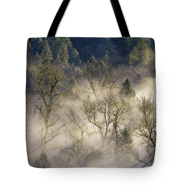Foggy Morning In Sandy River Valley Tote Bag by David Gn