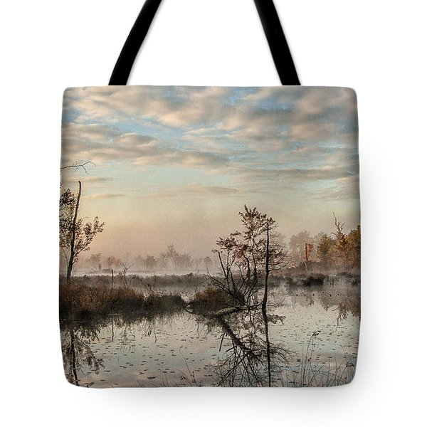 Foggy Morning In The Pines Tote Bag