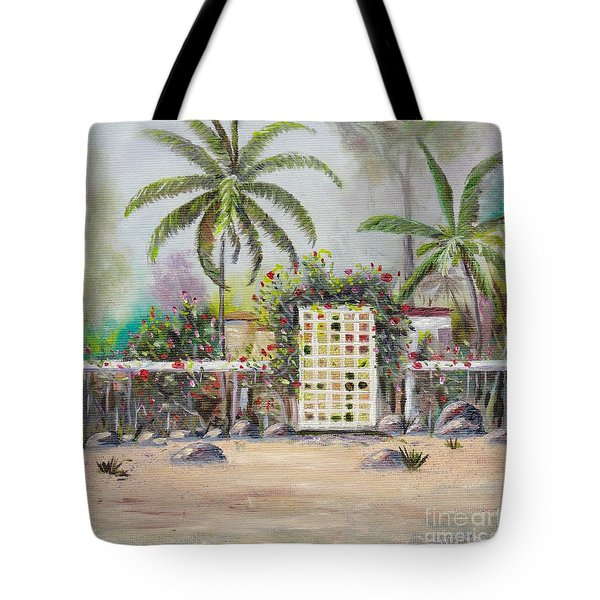 Tote Bag featuring the painting Foggy Morning by Mary Scott