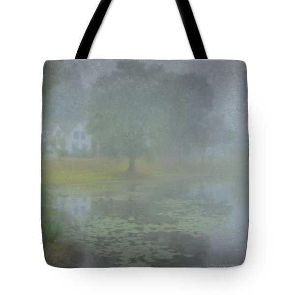 Foggy Morning On Pond Street Tote Bag