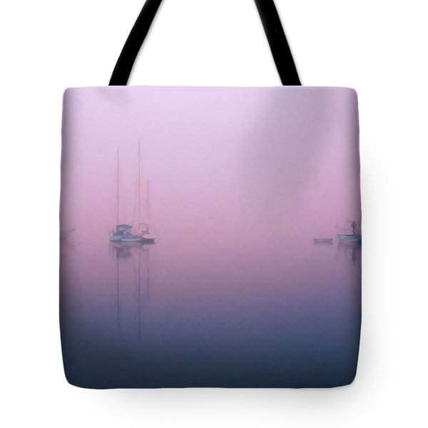 Tote Bag featuring the photograph Foggy Morning On The  Sassafras River by Richard Goldman