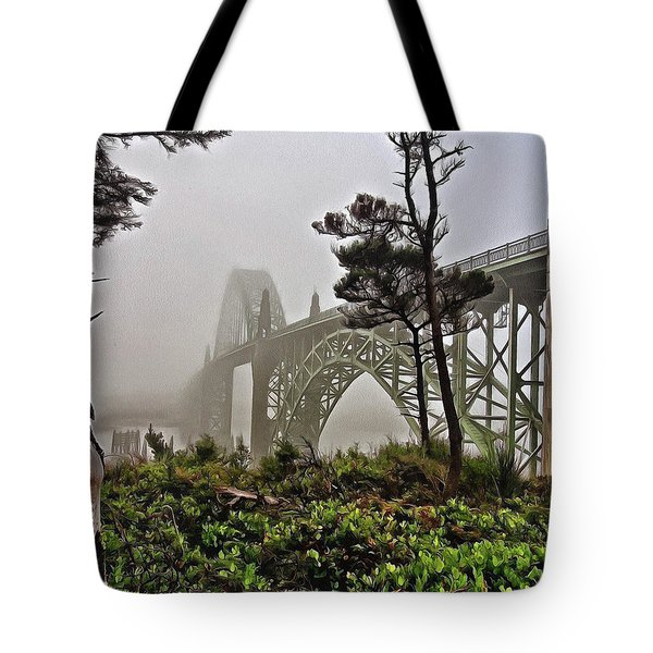 A Foggy Morning On Yaquina Bay Tote Bag