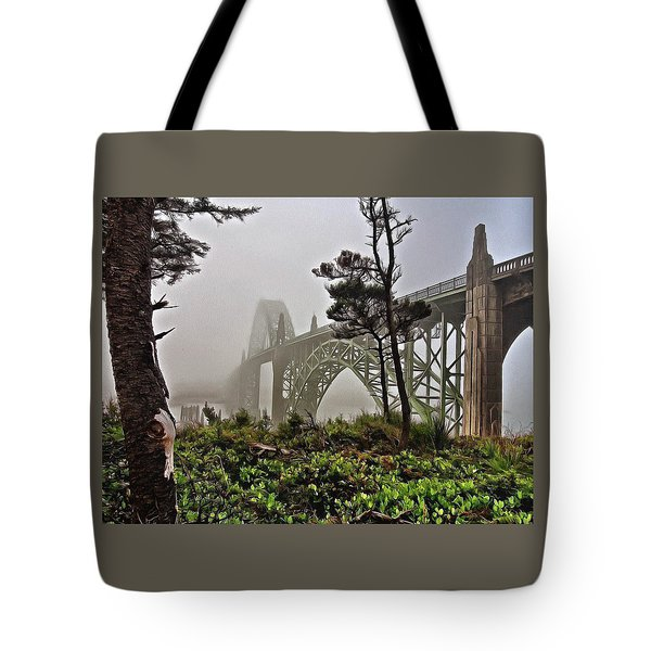 Tote Bag featuring the photograph A Foggy Morning On Yaquina Bay by Thom Zehrfeld