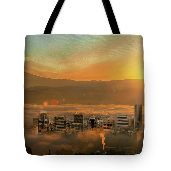Foggy Morning Over Portland Cityscape During Sunrise Tote Bag by David Gn