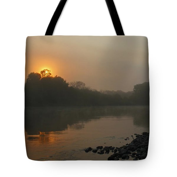 Foggy Morning Red River Of The North Tote Bag