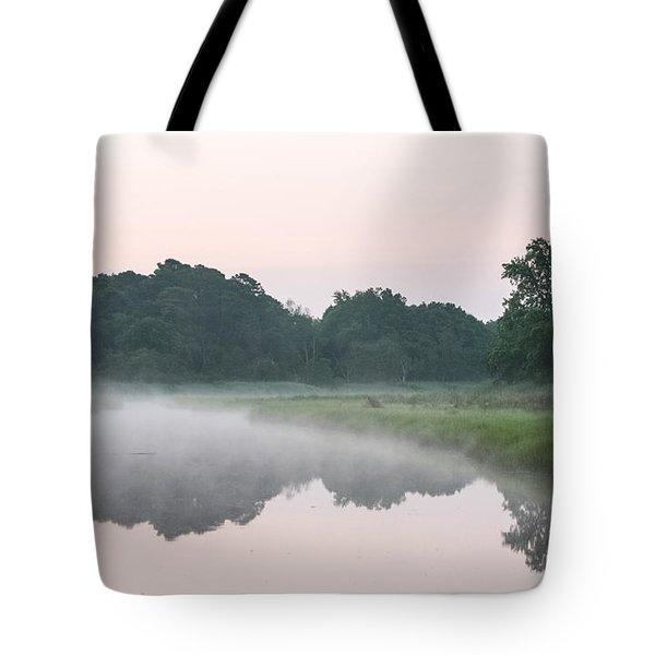 Foggy Morning Reflections Tote Bag