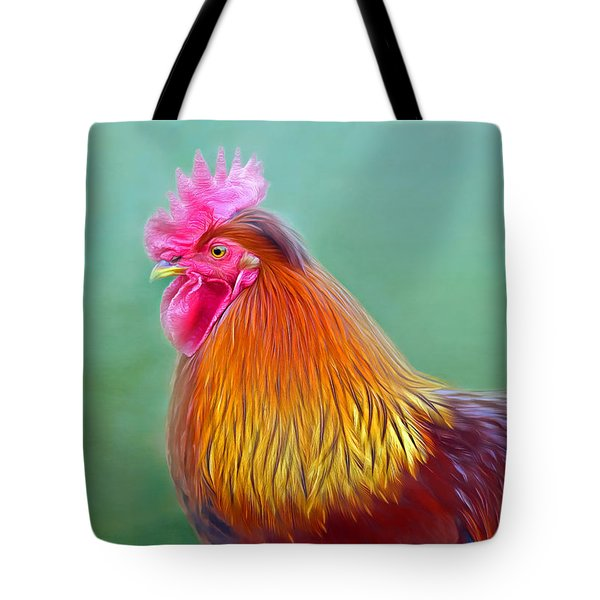 Foggy Morning Rooster Tote Bag