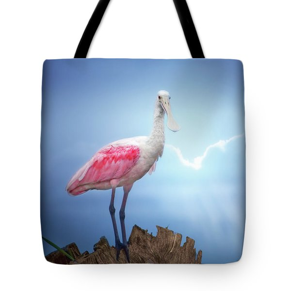 Foggy Morning Spoonbill Tote Bag
