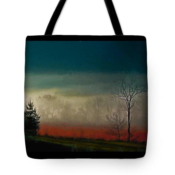 Foggy Morning Sunrise Tote Bag