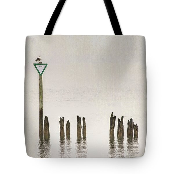 Tote Bag featuring the photograph Foggy Morning Texture Keyport Harbor by Gary Slawsky