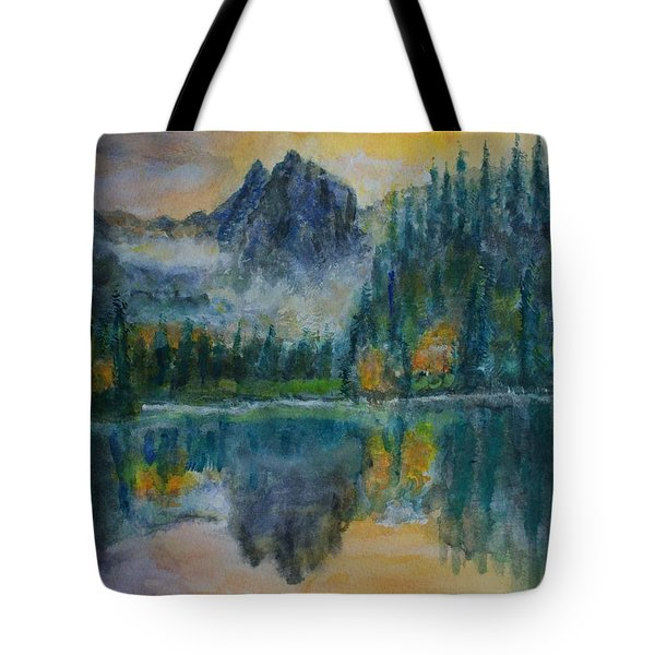 Foggy Mountain Lake Tote Bag by David Frankel