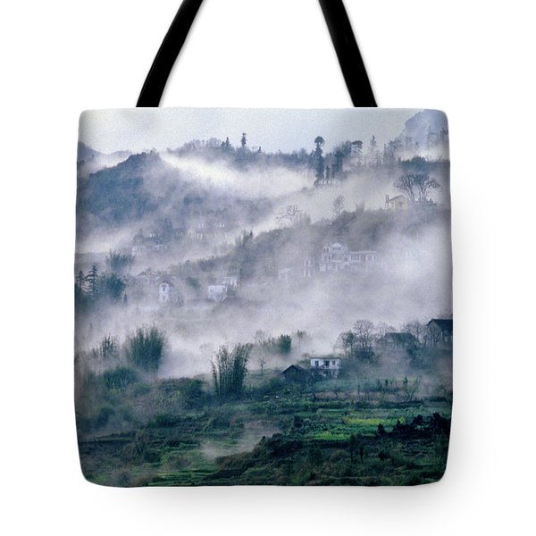 Tote Bag featuring the photograph Foggy Mountain Of Sa Pa In Vietnam by Silva Wischeropp