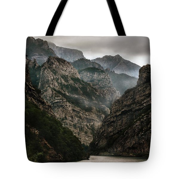 Tote Bag featuring the photograph Foggy Mountains Over Neretva Gorge by Jaroslaw Blaminsky