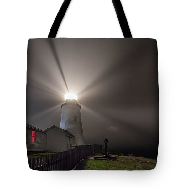 Foggy Night At Pemaquid Point Lighthouse Tote Bag