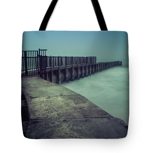 Foggy Night At Toes Beach Tote Bag