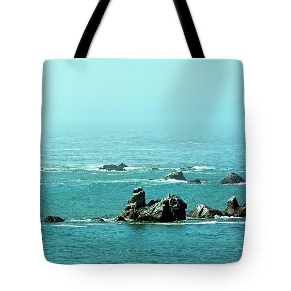 Sunny Blue Pacific Ocean Along The Oregon Coast Tote Bag