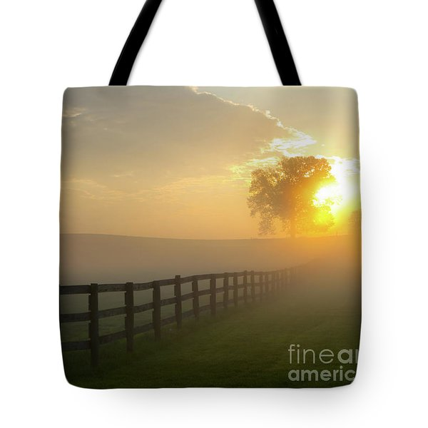 Foggy Pasture Sunrise Tote Bag