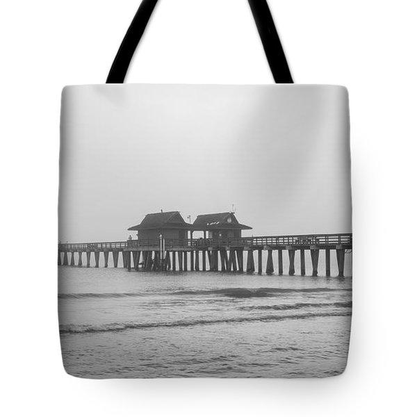 Foggy Pier Tote Bag