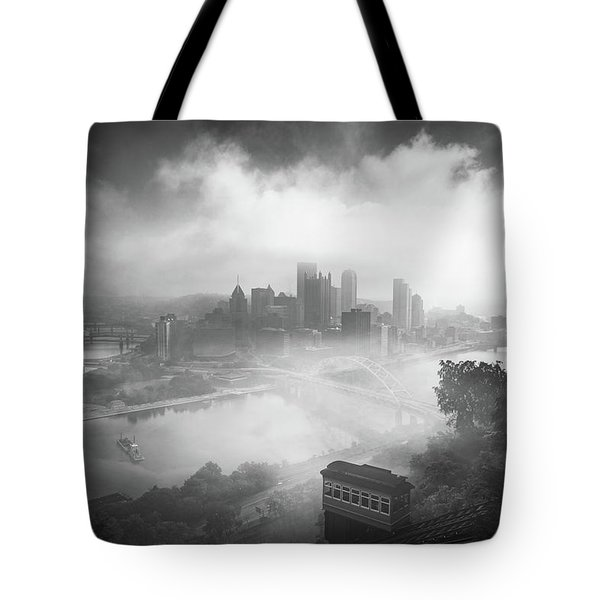 Tote Bag featuring the photograph Foggy Pittsburgh  by Emmanuel Panagiotakis