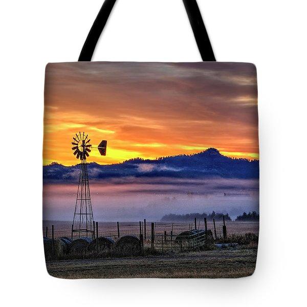 Foggy Spearfish Sunrise Tote Bag