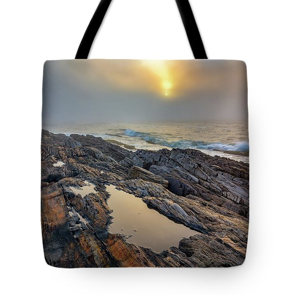 Foggy Sunrise At Giant's Stairs Tote Bag