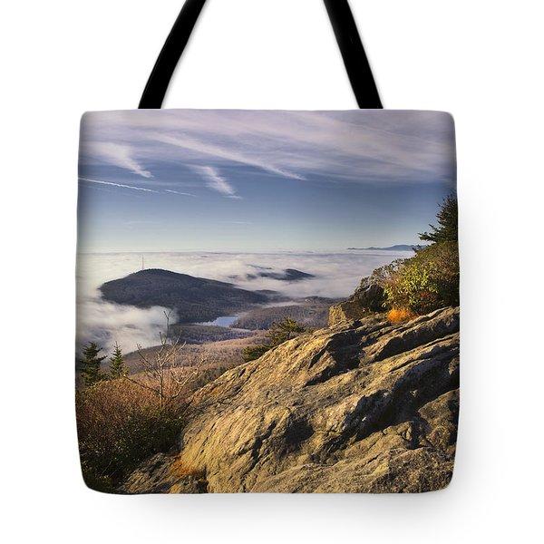 Foggy Sunrise At Grandfather Mountain Tote Bag