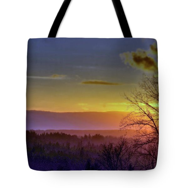Foggy Sunset Tote Bag by Victor K