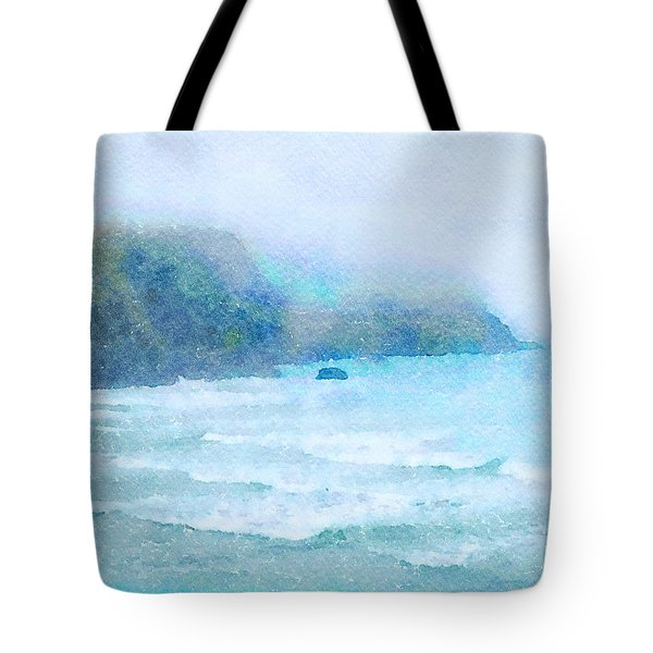 Tote Bag featuring the painting Foggy Surf by Angela Treat Lyon