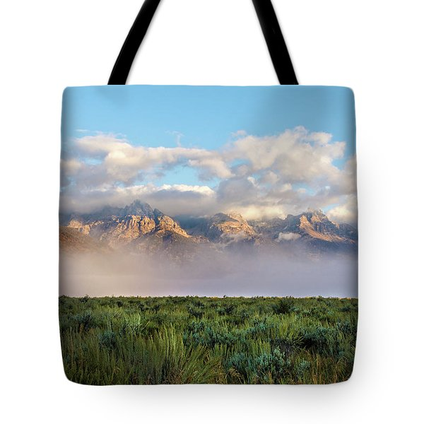 Foggy Teton Sunrise - Grand Tetons National Park Wyoming Tote Bag