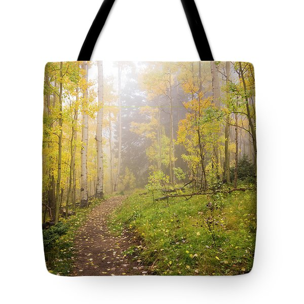 Foggy Winsor Trail Aspens In Autumn 2 - Santa Fe National Forest New Mexico Tote Bag