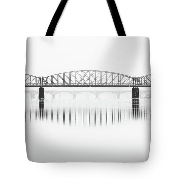 Foggy Winter Mood At Vltava River. Reflection Of Bridges In Water. Black And White Atmosphere, Prague, Czech Republic Tote Bag