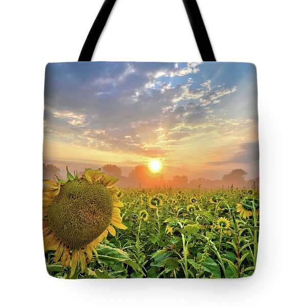 Foggy Yellow Fields Tote Bag