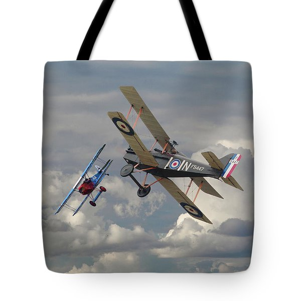 Tote Bag featuring the digital art Fokker Dvll And Se5 Head To Head by Pat Speirs