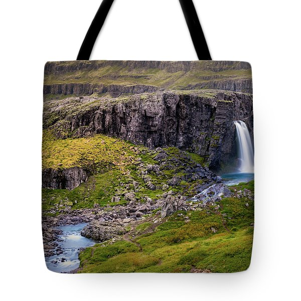 Tote Bag featuring the photograph Folaldafoss In Autumn by Rikk Flohr