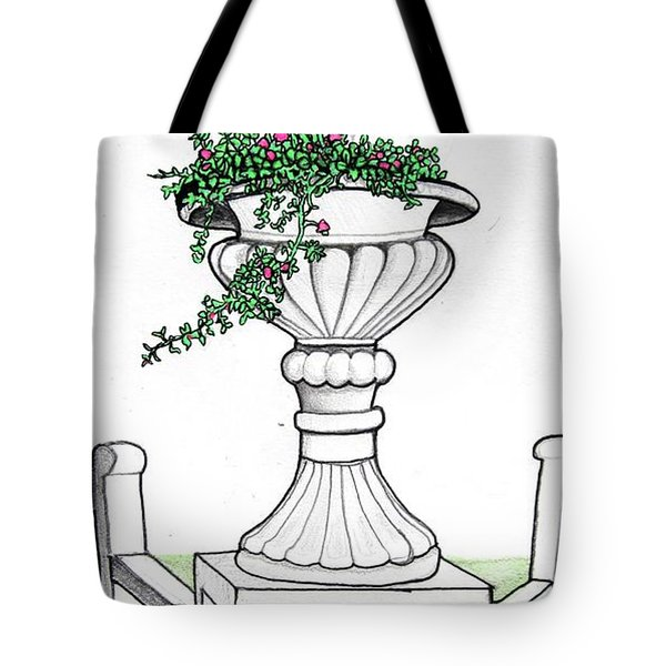 Tote Bag featuring the drawing Foliage Fountain by Mary Ellen Frazee