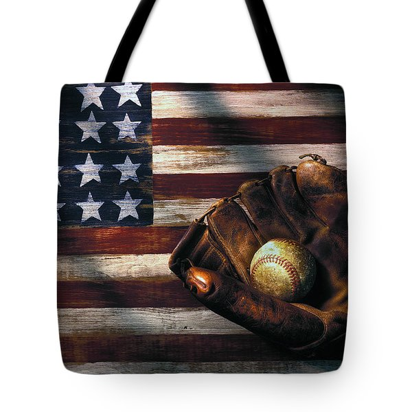 Folk Art American Flag And Baseball Mitt Tote Bag