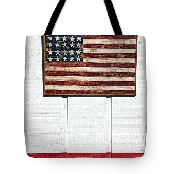Folk Art American Flag On Wooden Wall Tote Bag by Garry Gay
