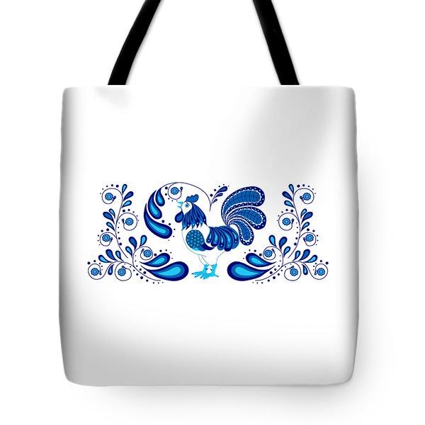 Folk Art Rooster In Blue Tote Bag