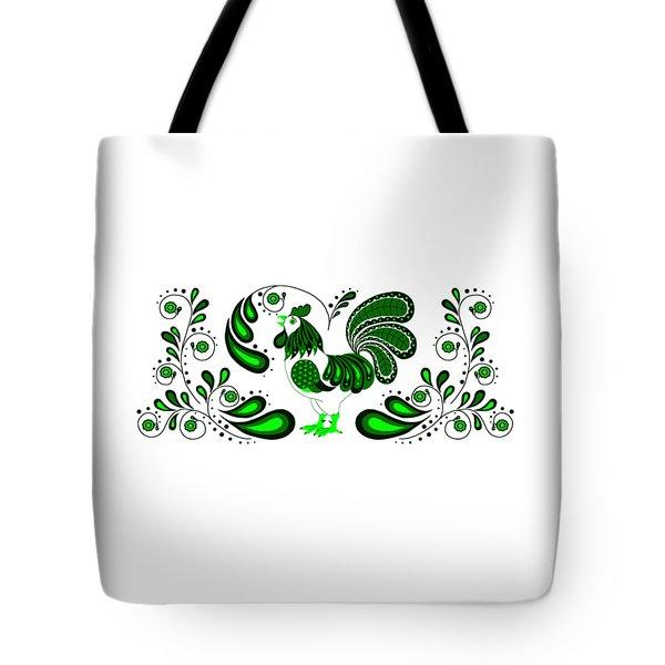 Folk Art Rooster In Green Tote Bag