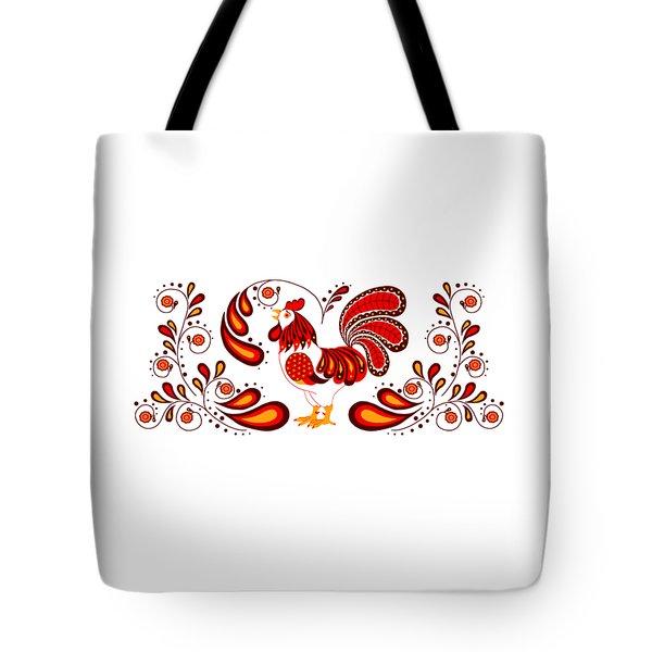 Folk Art Rooster In Red Tote Bag