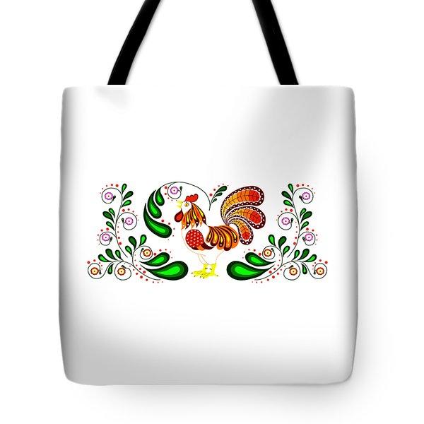 Folk Art Rooster Multi Color Tote Bag