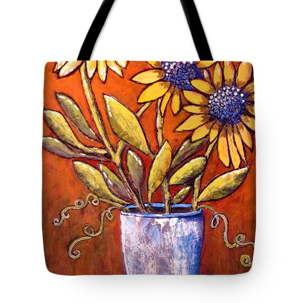 Folk Art Sunflowers Tote Bag