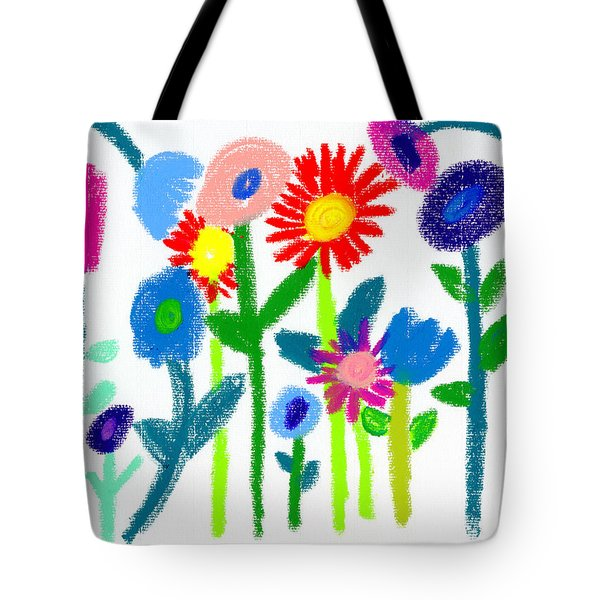 Tote Bag featuring the pastel Folk Garden by Bee-Bee Deigner