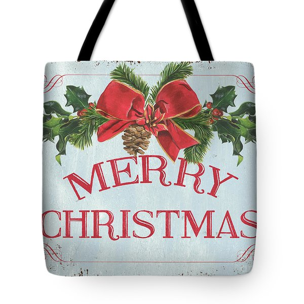 Folk Merry Christmas Tote Bag
