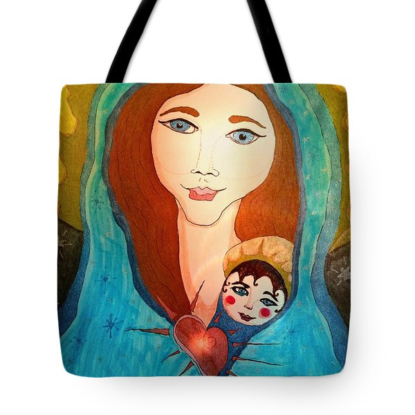 Folk Mother And Child Tote Bag
