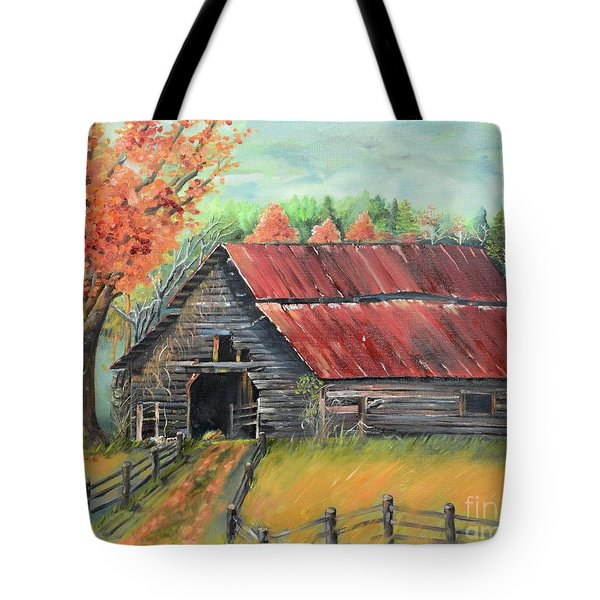 Tote Bag featuring the painting Follow The Lantern - Early Morning Barn- Anne's Barn by Jan Dappen