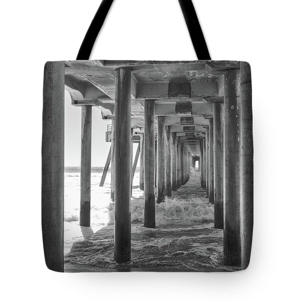 Tote Bag featuring the photograph Follow The Lines Under Huntington Beach Pier by Ana V Ramirez